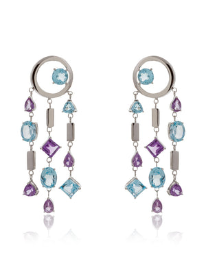 Selatra Silver Earrings With Amethyst and Blue Topaz