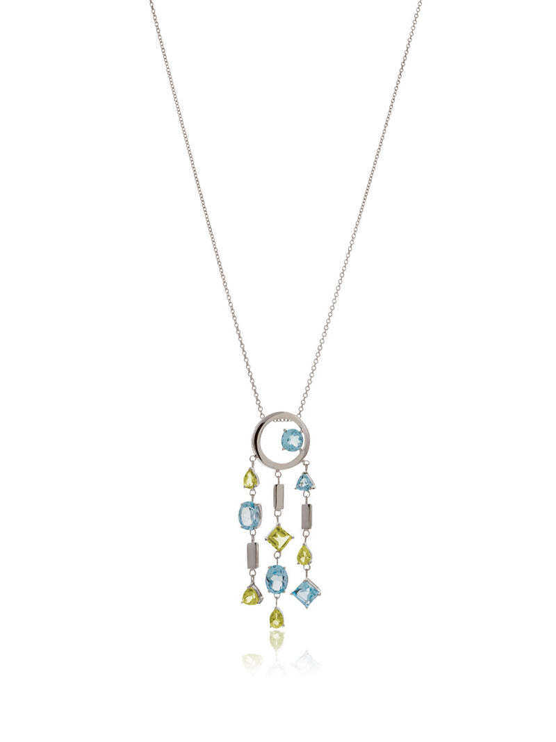 Selatra Silver Pendant With Blue Topaz and Lemon Quartz