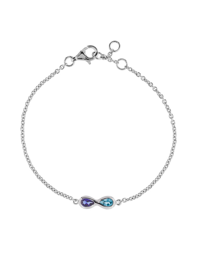 Sempre Silver Bracelet With Blue Topaz and Iolite