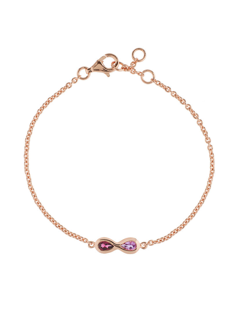 Sempre Rose Gold Bracelet With Amethyst and Rhodolite