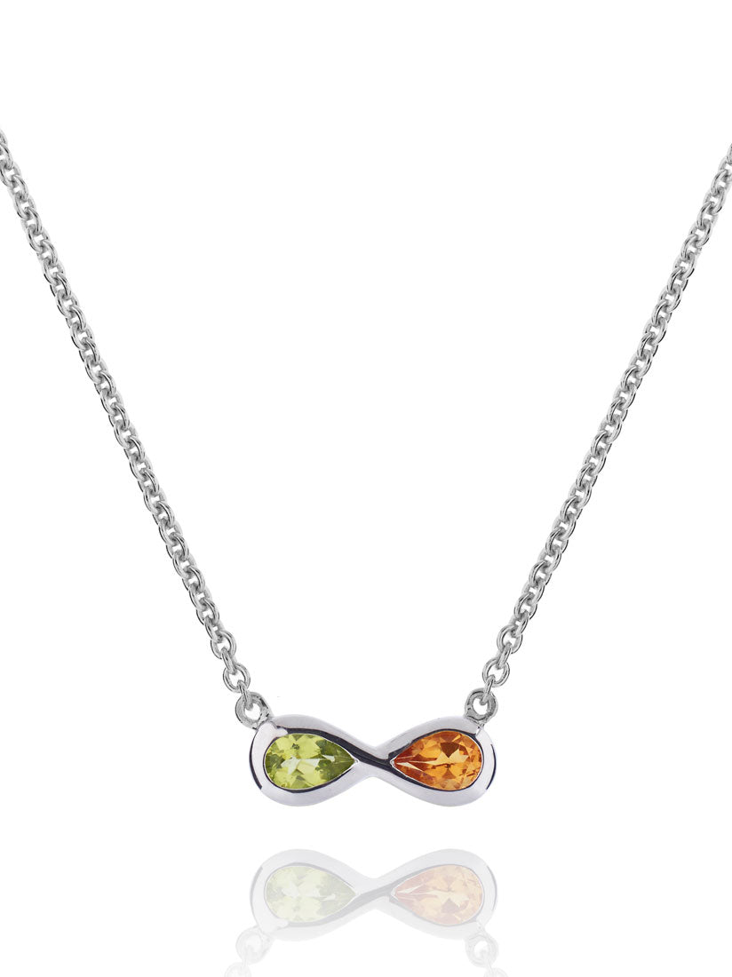 Sempre Silver Necklace With Peridot and Citrine