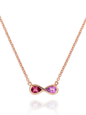 Sempre Rose Gold Necklace With Amethyst and Rhodolite
