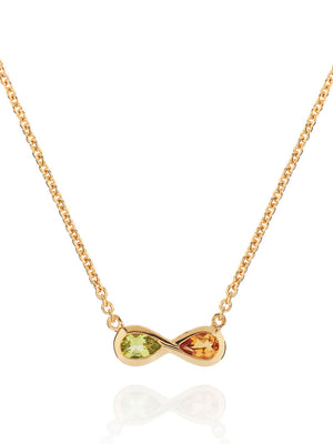 Sempre Gold Necklace With Peridot and Citrine