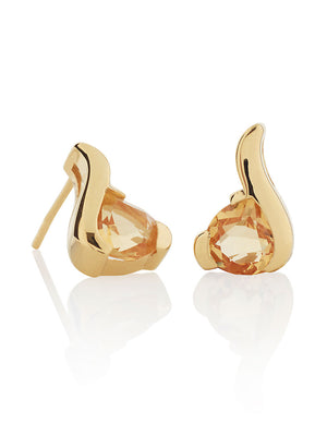 Sensual Gold Earrings with Citrine