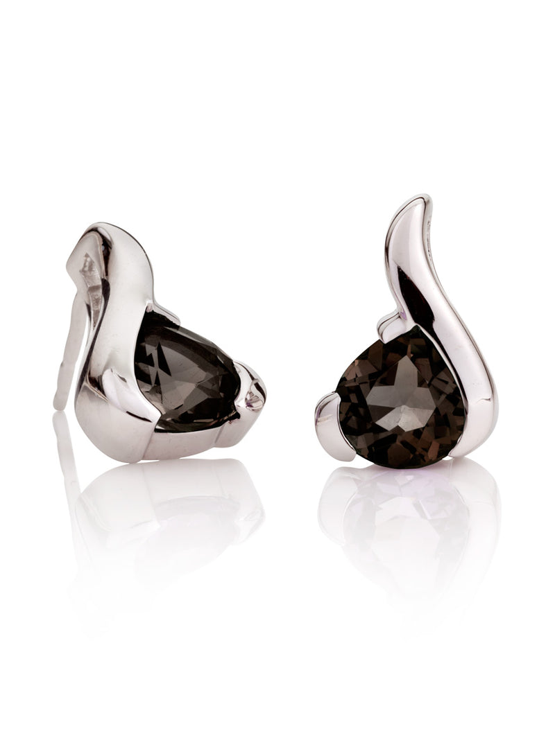 Sensual silver earrings with Smoky Quartz