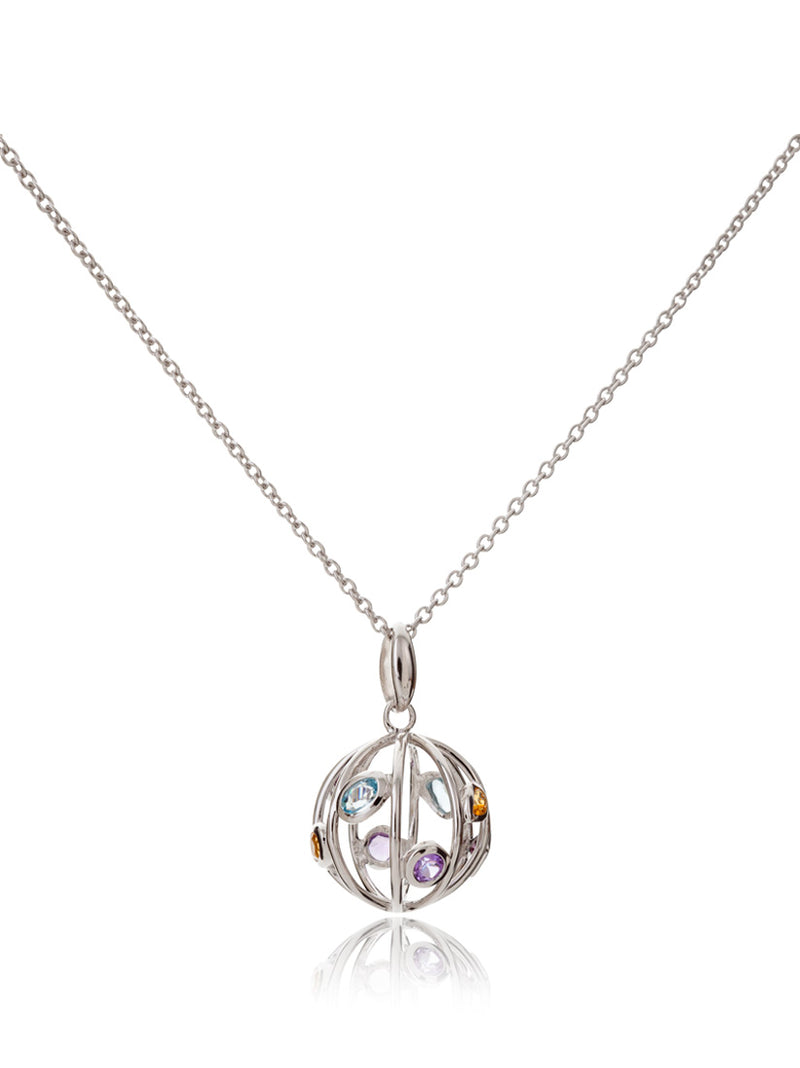 Small Votra Silver Pendant with Blue topaz Amethyst Rhodolite And Citrine