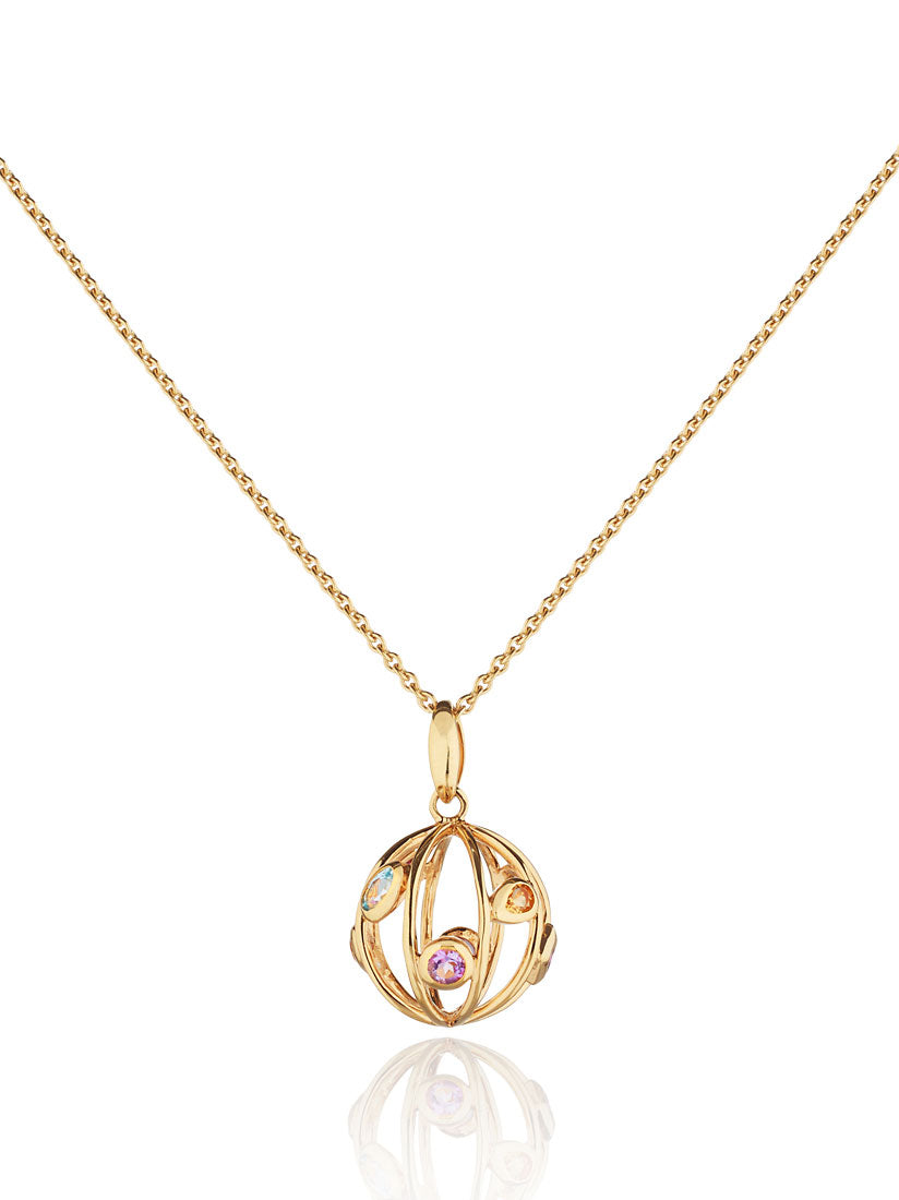 Small Votra Gold  Pendant with Blue topaz  Amethyst  Rhodolite And  Citrine