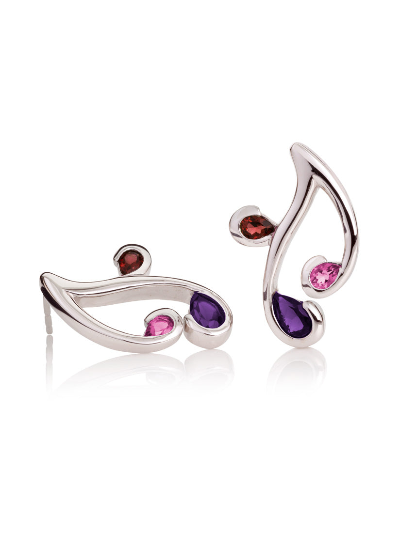 Tana Silver Earrings With Amethyst, Rhodolite and Garnet