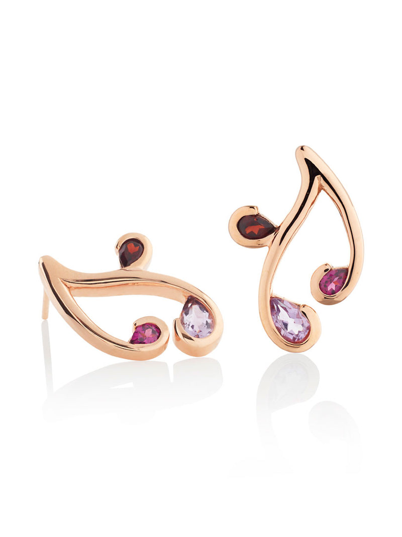 Tana Rose Gold Earrings With Amethyst, Rhodolite and Garnet