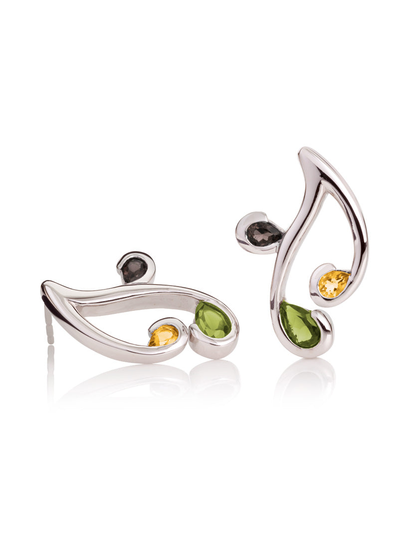 Tana Silver Earrings With Peridot, Citrine and Smoky Quartz