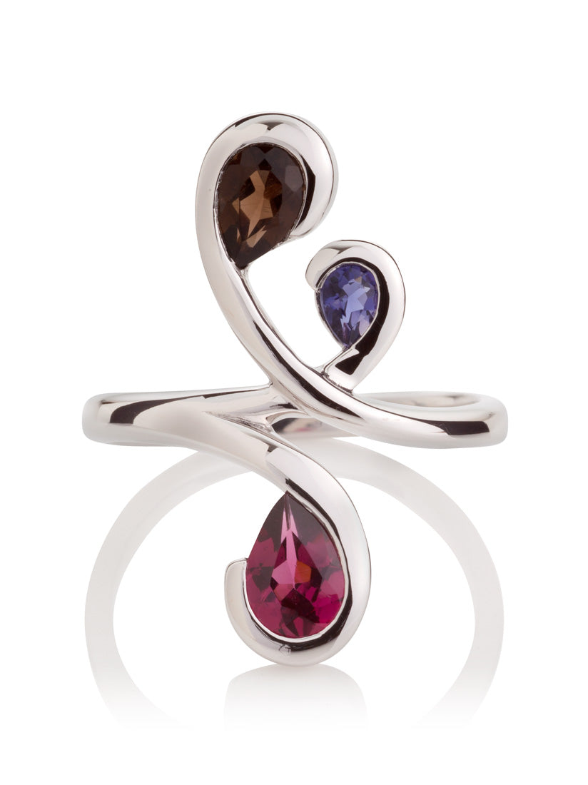 Tana Silver Ring With Smoky Quartz, Iolite and Rhodolite