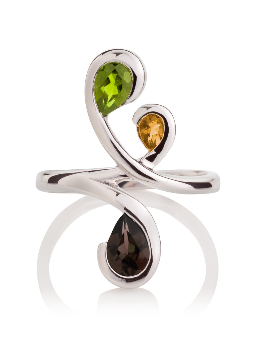 Tana Silver Ring With Peridot, Citrine and Smoky Quartz