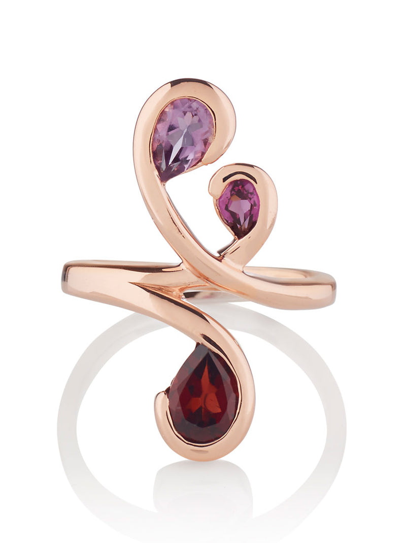 Tana Rose Gold Ring With Amethyst, Rhodolite and Garnet