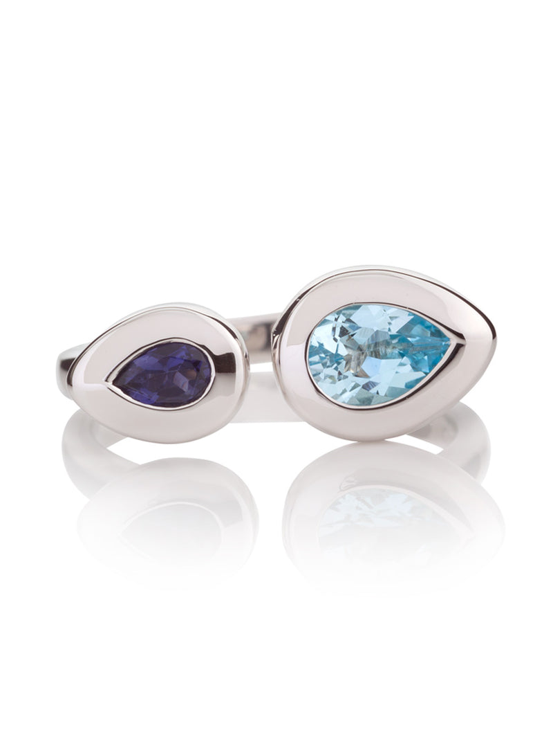 Toi et Moi Silver Ring with Blue Topaz and  Iolite