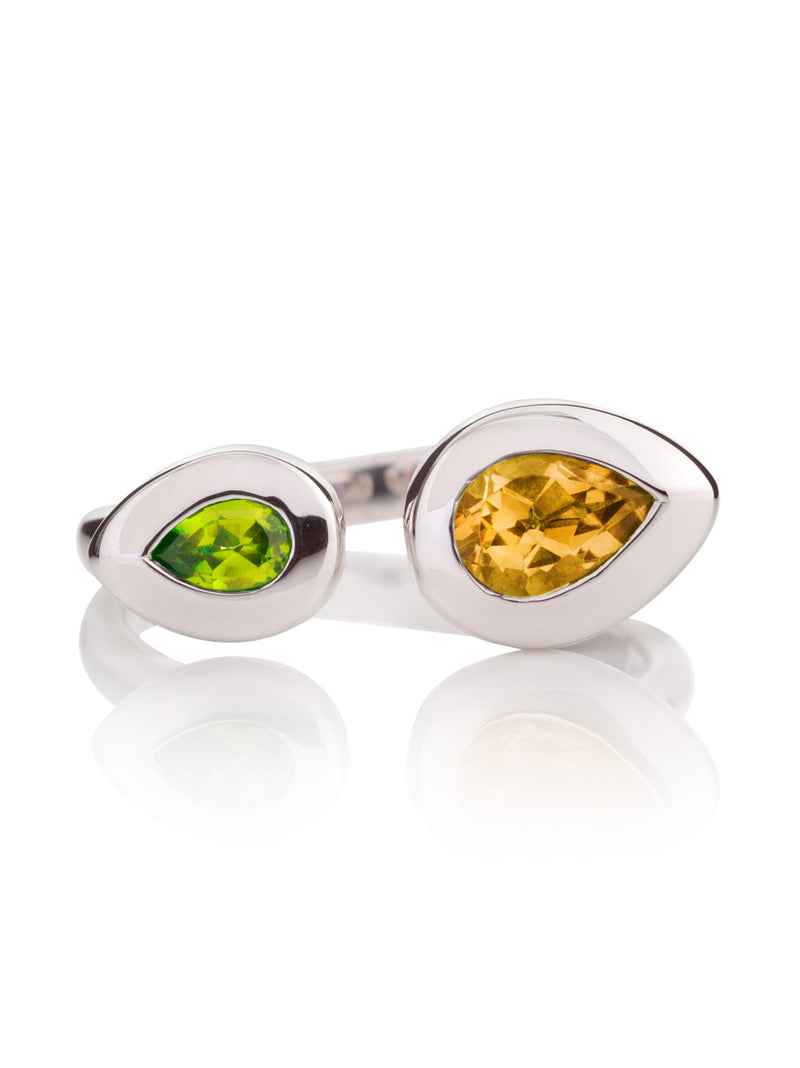 Toi et Moi Silver Ring with Peridot And Citrine