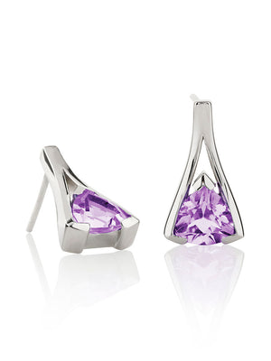Valentine Silver Earrings With Amethyst