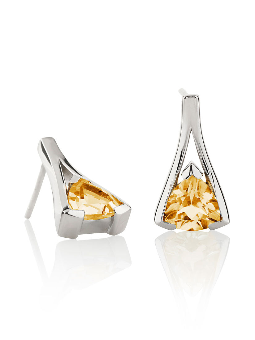 Valentine Silver Earrings With Citrine