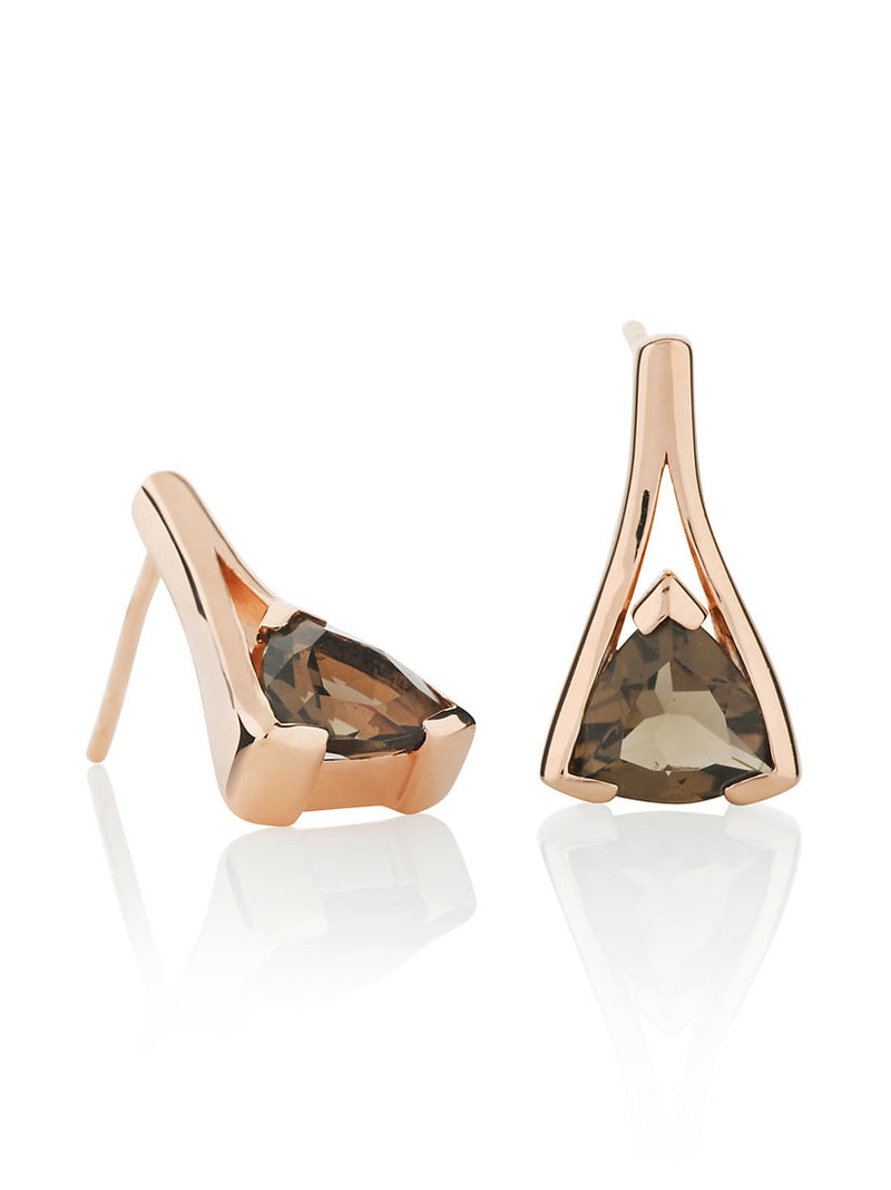 Valentine Rose Gold Earrings With Smoky Quartz