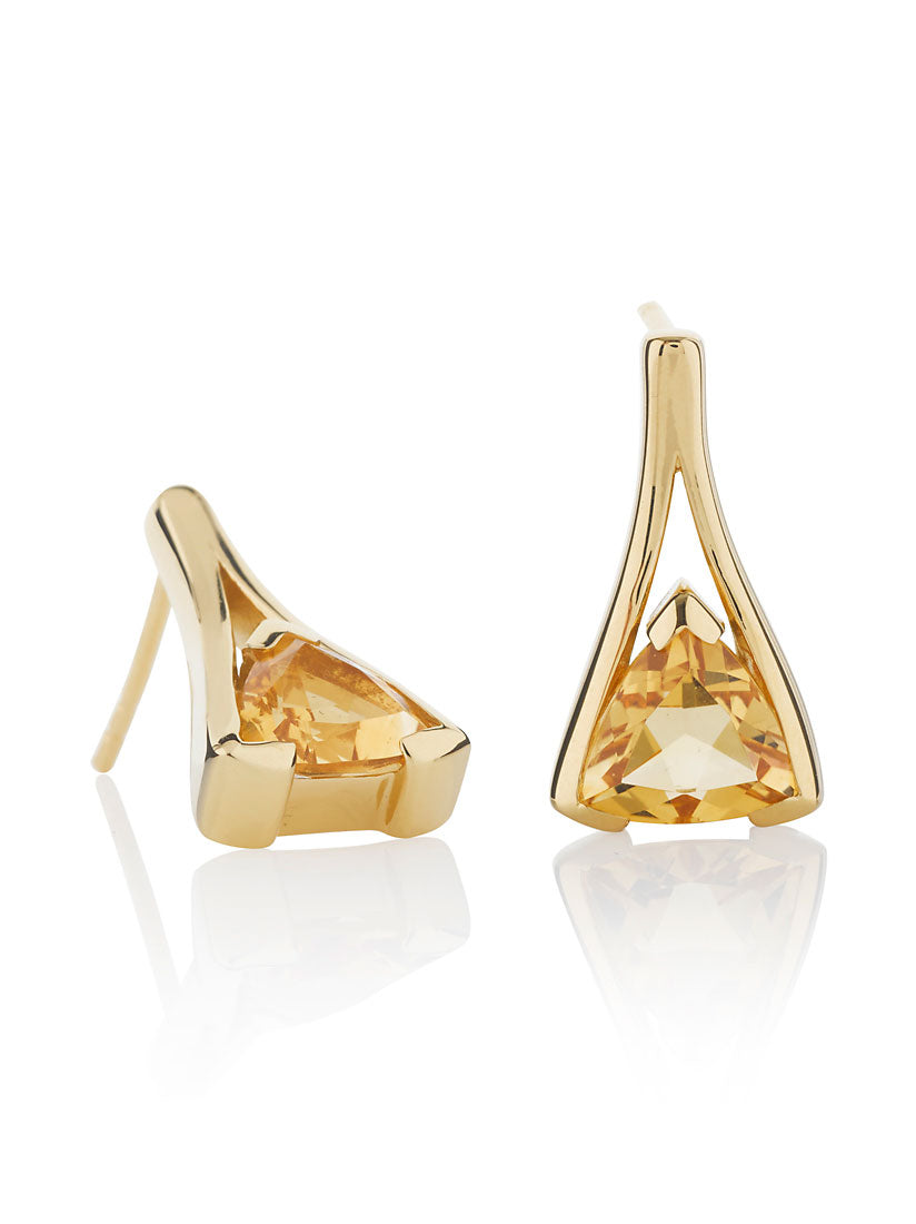 Valentine Gold Earrings With Citrine