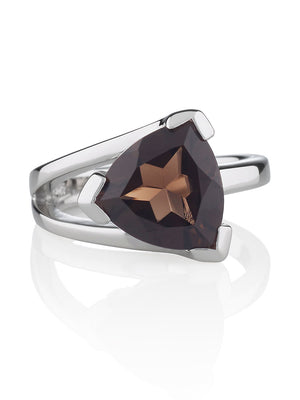 Valentine  Silver Ring with Smoky Quartz