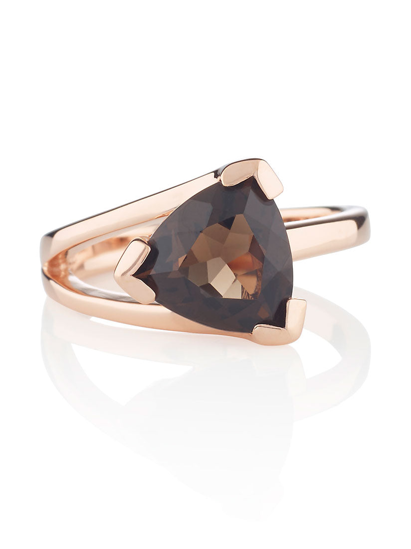 Valentine Rose Gold Ring With Smoky Quartz