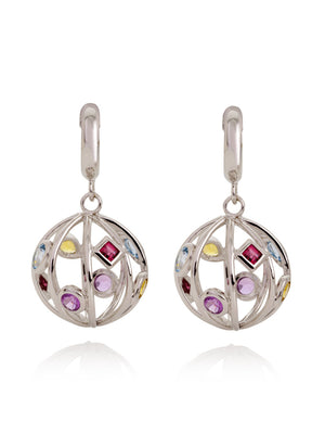 Votra Silver Earrings with Blue topaz  Amethyst  Rhodolite And Citrine