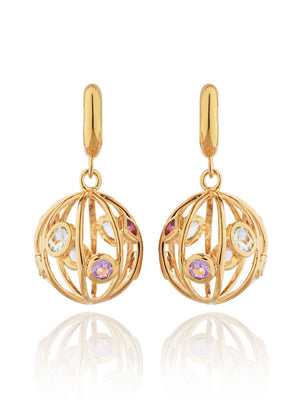 Votra Gold Earrings with Blue topaz  Amethyst  Rhodolite And Citrine