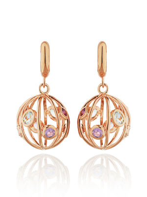 Votra Rose Gold Earrings with Blue topaz  Amethyst  Rhodolite And Citrine