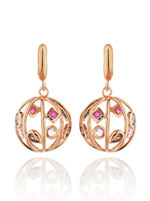 Votra Rose Gold Earrings with Smoky Quartz And  Iolite