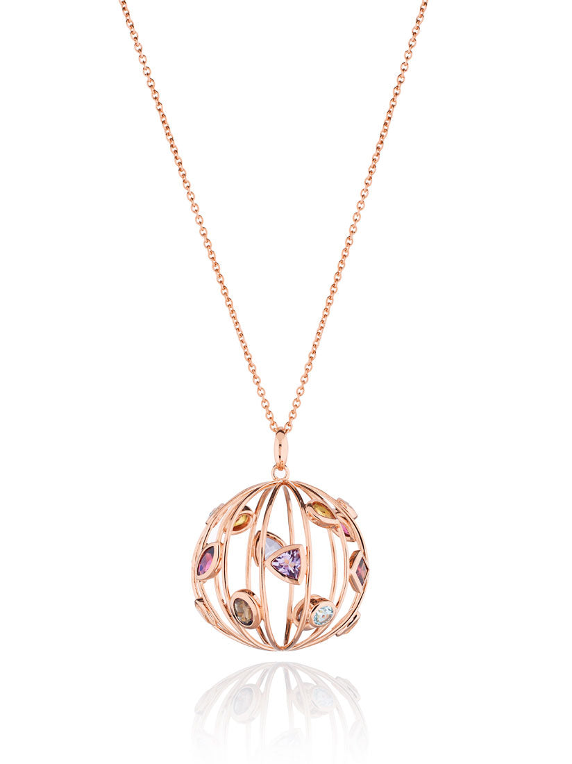 Votra Rose Gold  Pendant with Blue Topaz  Amethyst Rhodolite Smoky Quartz Lemon Quartz And Citrine