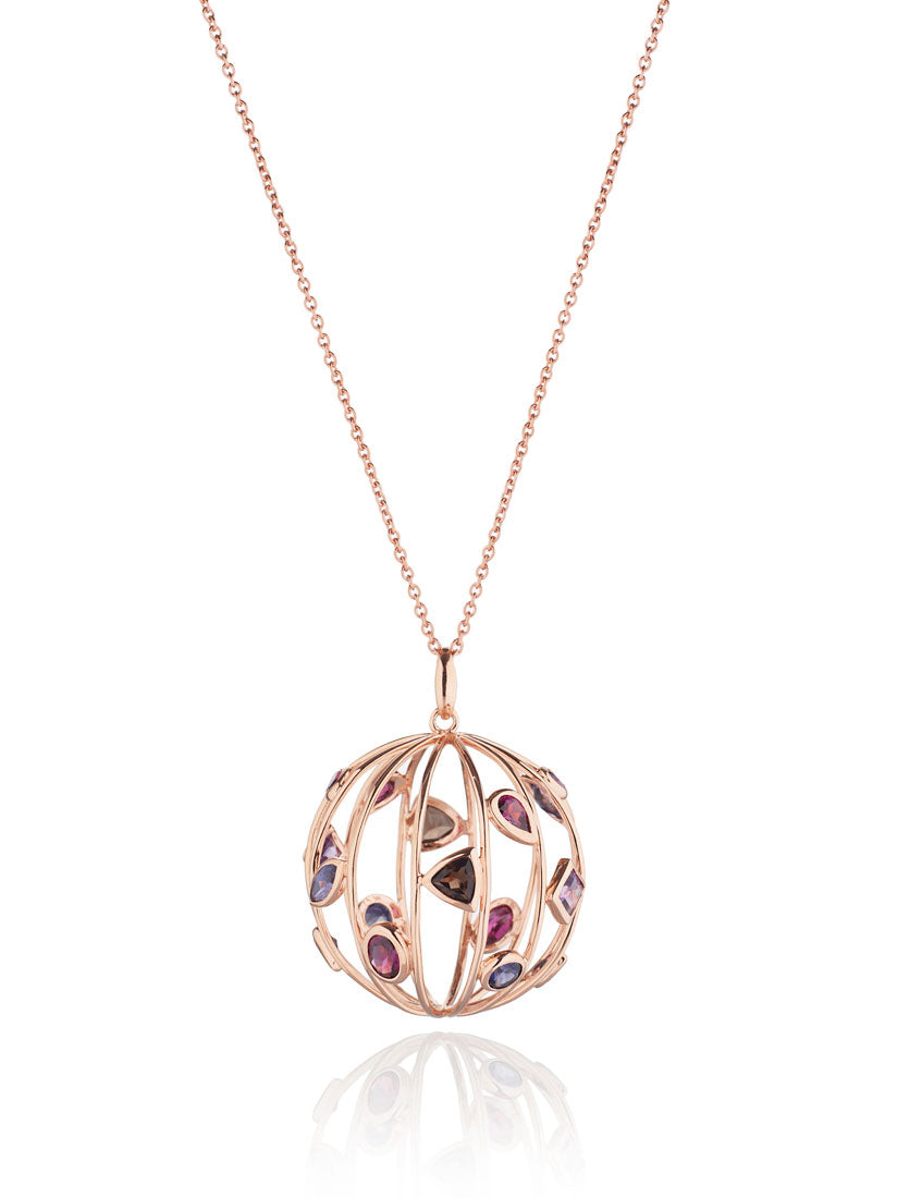 Votra Rose Gold Pendant with Iolite Smoky Quartz Amethyst And Rhodolite