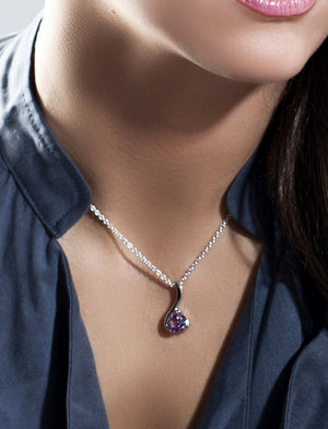 Sensual Silver pendant with Amethyst