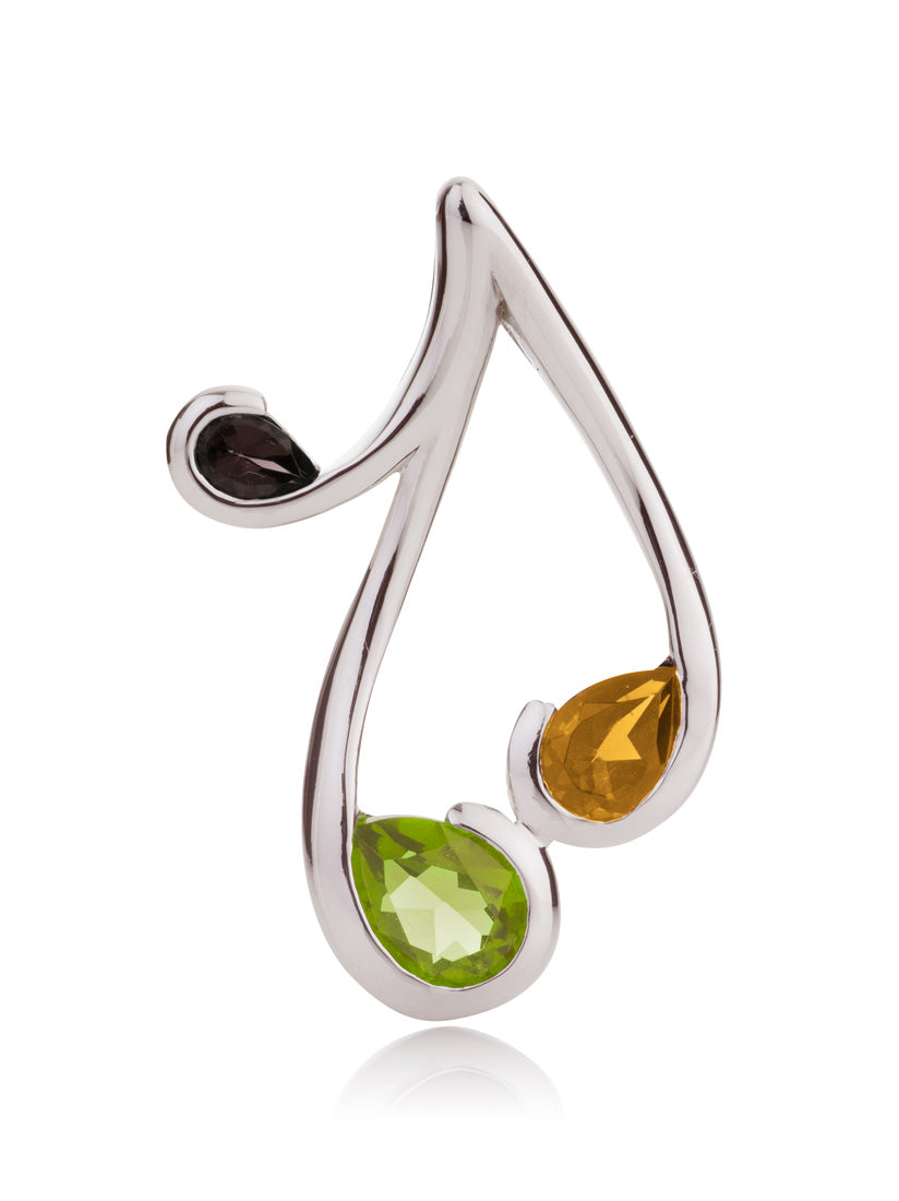 Tana Silver Pendant With Peridot, Citrine and Smoky Quartz