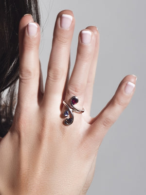 Tana Silver Ring With Amethyst, Rhodolite and Garnet