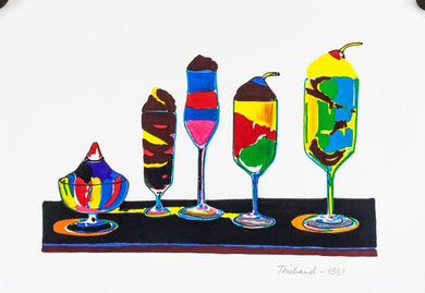 WAYNE THIEBAUD 1961 Sundaes American POP CONTEMPORARY POP Mixed media on paper