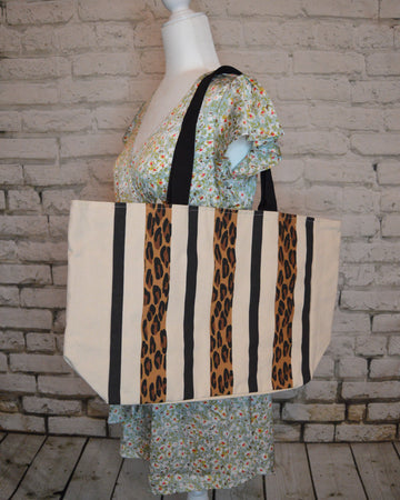 Leopard Stripe Tote Bag