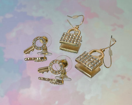 Lock & Key Earring Set