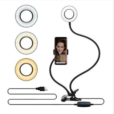Image of Multi-function Adjustable Mobile Phones Clamp Fill Light WIth Bracket Rotated Desktop Lamp