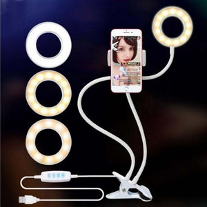 Multi-function Adjustable Mobile Phones Clamp Fill Light WIth Bracket Rotated Desktop Lamp