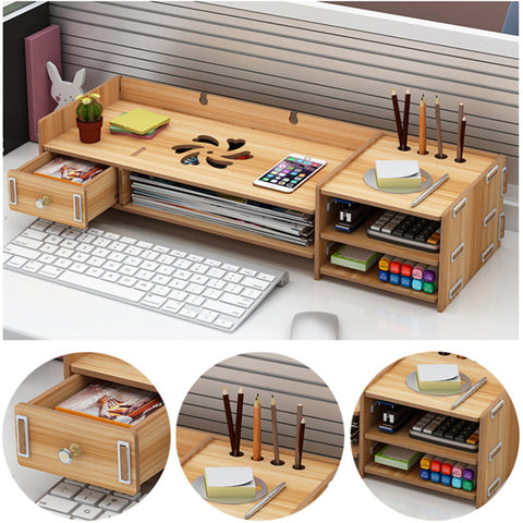 Multi-function Desktop Wooden Computer Monitor Riser Stand Laptop