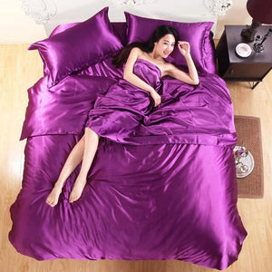 100% Pure Satin Silk Bedding Set Home Textile King Size Bed Set Bedclothes Duvet Cover