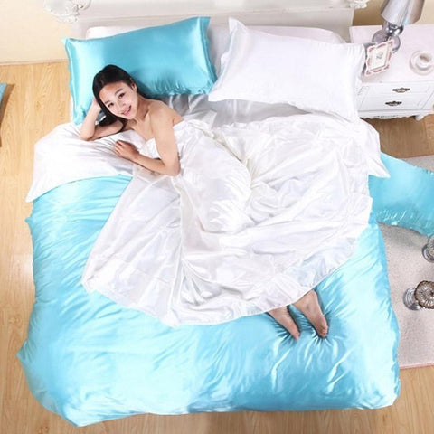 100% Pure Satin Silk Bedding Set Bedclothes Duvet Cover Flat Sheet Pillowcases
