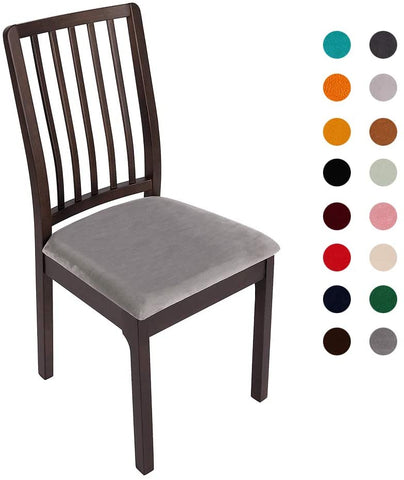 Image of Velvet Stretch Dining Chair Seat Covers Removable Washable Chair Protector Slipcovers