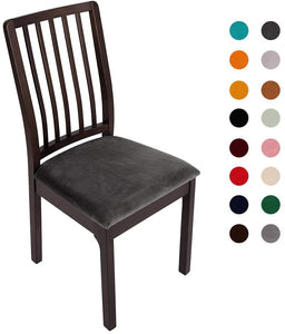 Velvet Stretch Dining Chair Seat Covers Removable Washable Chair Protector Slipcovers