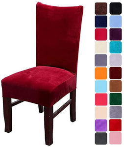 Velvet Stretch Dining Room Chair Covers Soft Removable Dining Chair Slipcovers