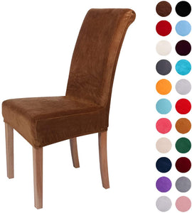 Velvet Spandex Fabric Stretch Dining Room Chair Slipcovers Home Decor