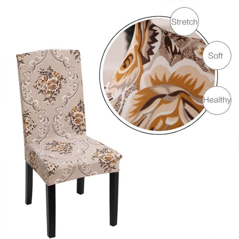 Image of Stretch Removable Washable Short Dining Chair Protector Cover Seat Slipcover