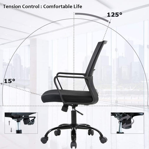 Office Chair Ergonomic Desk Chair Swivel Rolling Computer Chair Adjustable Stool