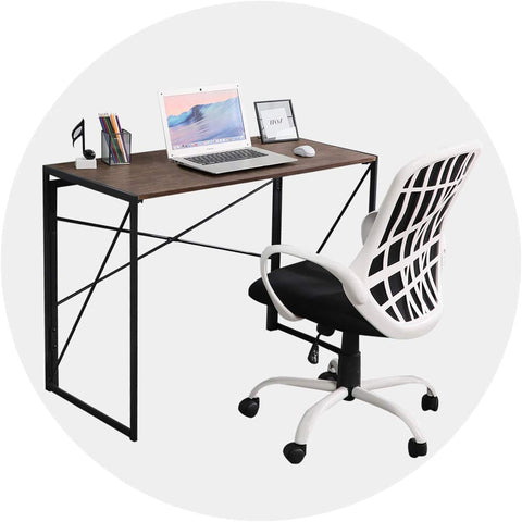 Image of Writing Computer Desk Modern Simple Study Desk Industrial Style Folding Laptop Table