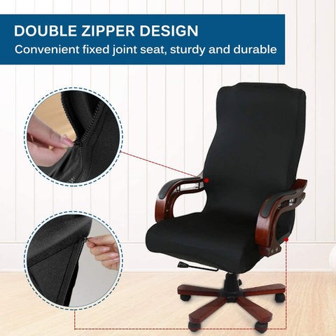 Image of Computer Office Chair Cover Velvet Fabric Rotating Chair Slipcovers